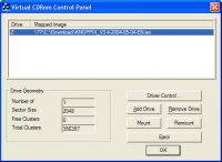 WinXPVirtualCDControlPanel screenshot